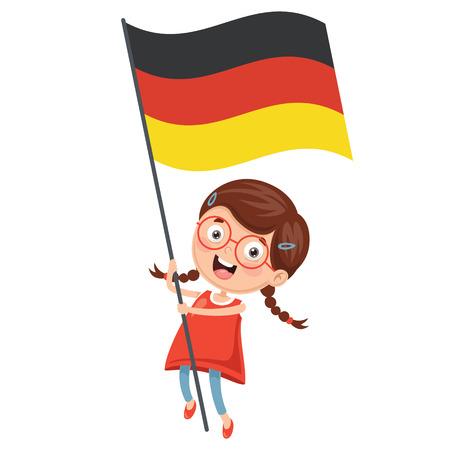 Vector Illustration Of Kid Holding Germany Flag