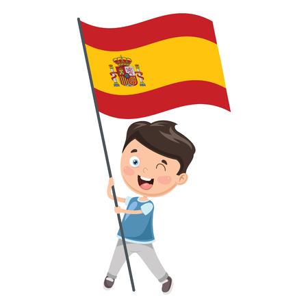 Vector Illustration Of Kid Holding Spain Flag