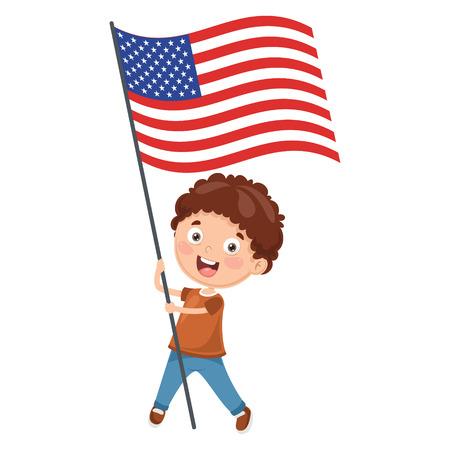 Ilustración de niño sosteniendo la bandera de Estados Unidos Ilustración de vector