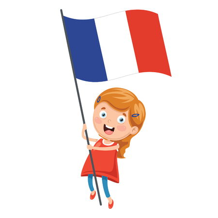 Illustration Of Kid Holding France Flag
