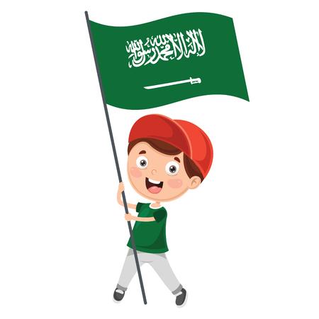 Ilustración de niño sosteniendo la bandera de Arabia Saudita
