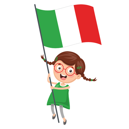 Illustration Of Kid Holding Italy  Flag Ilustracja
