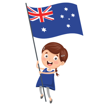 Illustration Of Kid Holding Australia Flag