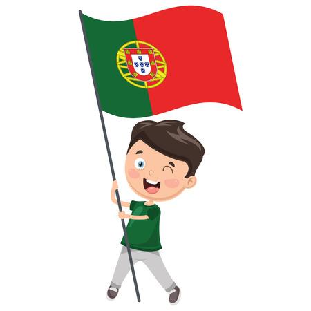 Illustration Of Kid Holding Portugal Flag
