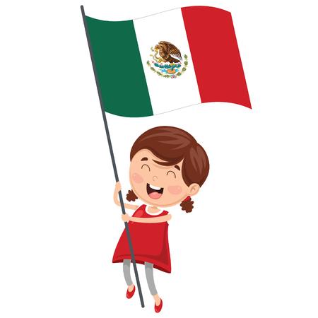 Illustration Of Kid Holding Mexico Flag