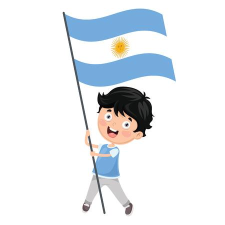 Illustration Of Kid Holding Argentina Flag Illustration