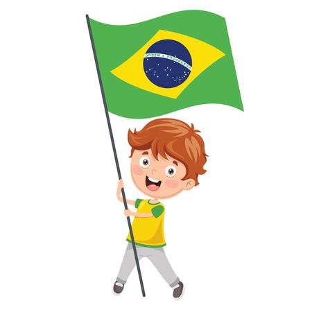 Illustration Of Kid Holding Brazil Flag