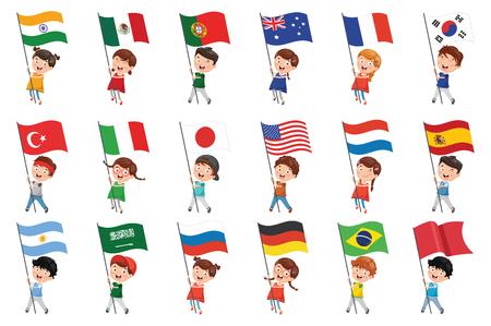 Ilustración vectorial de niños sosteniendo banderas Ilustración de vector