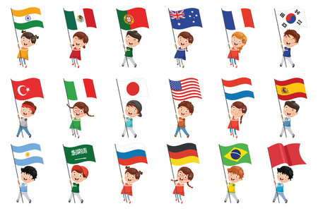 Vector Illustration Of Kids Holding Flags
