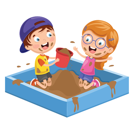 Vector Illustration Of Kids Playing In Mud