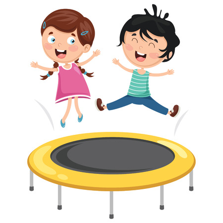 Vector Illustration Of Kids Playing Trampoline Ilustracja