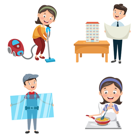 Vector Illustration Of Occupations