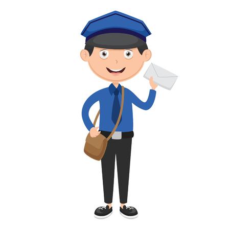 Vector Illustration Of Postman Illustration