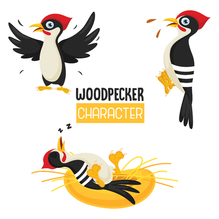 Vector Illustration Of Cartoon Woodpecker Ilustracja