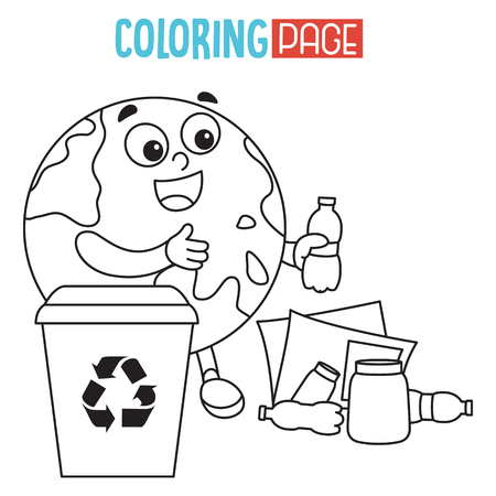 Vector Illustration Of Earth Coloring Page
