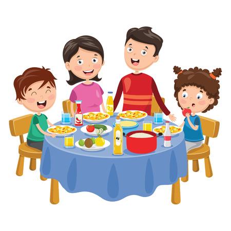 Vector Illustratie Van Familie Die Diner Heeft Vector Illustratie