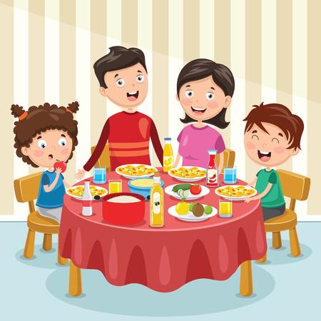 Vector Illustration Of Family Having Dinner