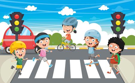 Vector Illustration Of Kids Walking Across Crosswalk Illustration