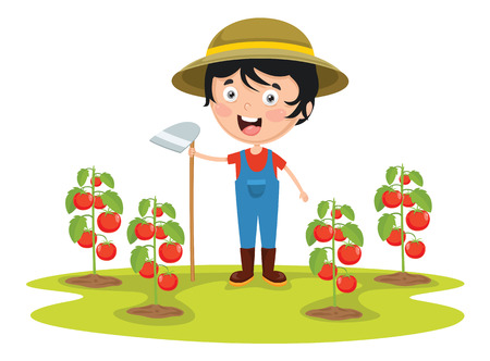 Vector Illustration Of Kid Farmer