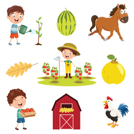 Vector Illustration Of Farm Things