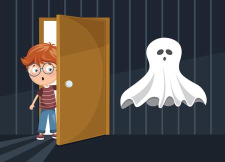 Ilustración de vector de niño asustado