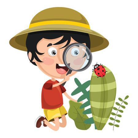 Vector Illustration Of Kid Using Magnifier