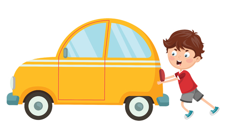 Vector Illustration Of Kid Pushing Car Stok Fotoğraf - 103837413