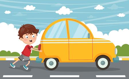 Ilustración de vector de niño empujando coche