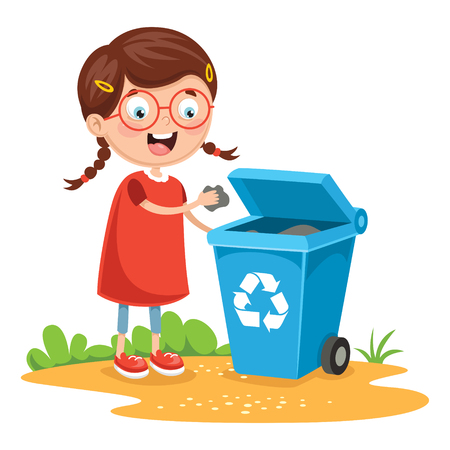 Vector Illustration Of Kid Recycling Trash