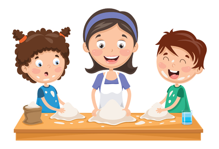 Vector Illustration Of Mother And Kids Preparing Dough