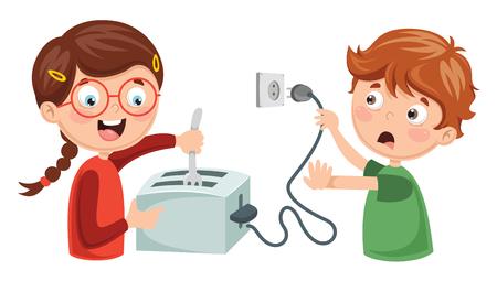 Ilustracja wektorowa porażenia prądem elektrycznym dzieci