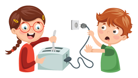 Vector Illustration Of Kids Electric Shock Çizim