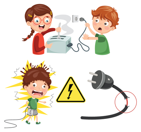 Vector Illustration Of Kids Electric Shock Illusztráció