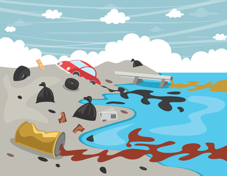 Vector Illustration Of Water Pollution