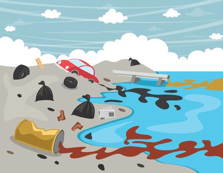 Vector Illustratie Van Waterverontreiniging