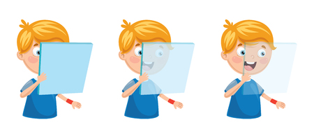 Vector Illustration Of Kid Holding Glass 일러스트
