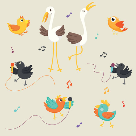 Vector Illustration Of Birds Singing Illustration