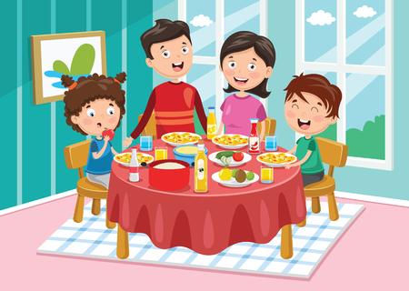 Vektor-Illustration der Familie, die Abendessen hat