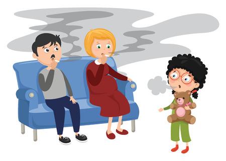 Vector Illustration Of Family Smoking  イラスト・ベクター素材
