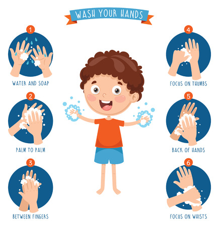 Vector Illustration Of Washing Hands 写真素材 - 104078053