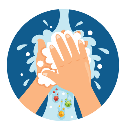 Vector Illustration Of Washing Hands Stok Fotoğraf - 104077944
