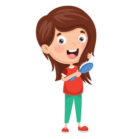 Vector Illustration Of Kid Brushing Hair
