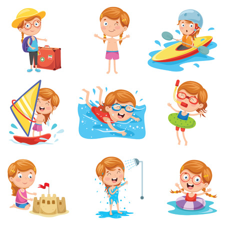 Vector Illustration Of Little Girl On Summer Holiday