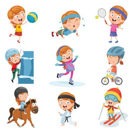 Vector Illustration Of Little Girl Making Sport