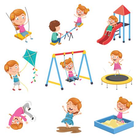Vector Illustratie Van Klein Meisje Spelen In Het Park