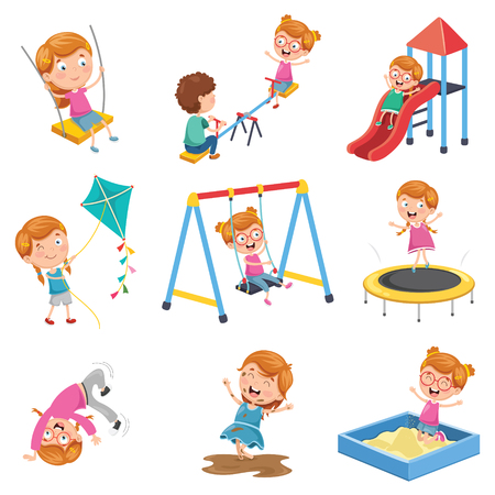 Vector Illustration Of Little Girl Playing At Park