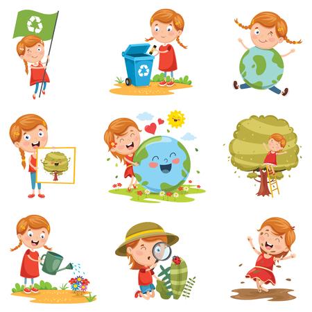 Vektor-Illustration des kleinen Mädchens und der Natur