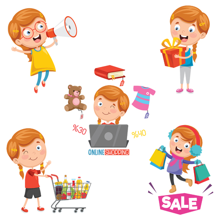 Vektor-Illustration des Einkaufens des kleinen Mädchens Vektorgrafik