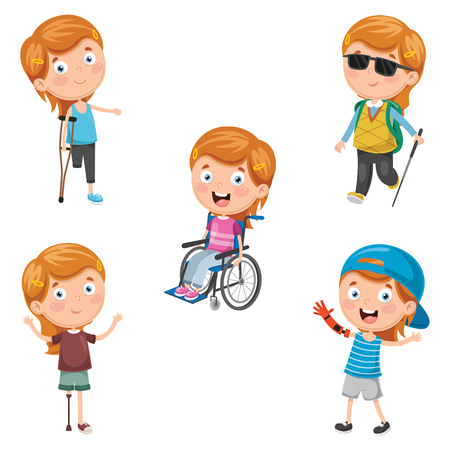 Vector Illustration Of Disabilities Banque d'images - 104078085