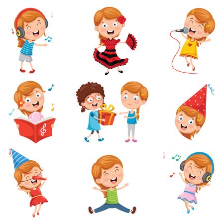 Vector Illustration Of Little Girl Party Illustration